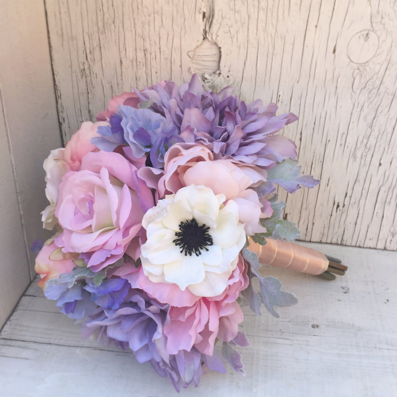 Pastel Wedding Flowers: Pastel Silk Wedding Bouquet With Anemones Peonies Roses