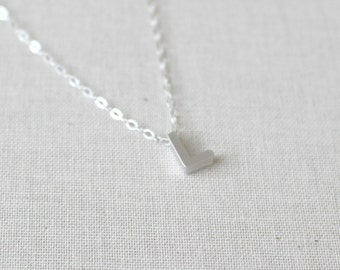Small Letter L Necklace, Sterling Silver Necklace, Initial L Charm/Pendant, Birthday Gift,Uppercase Letter L necklace