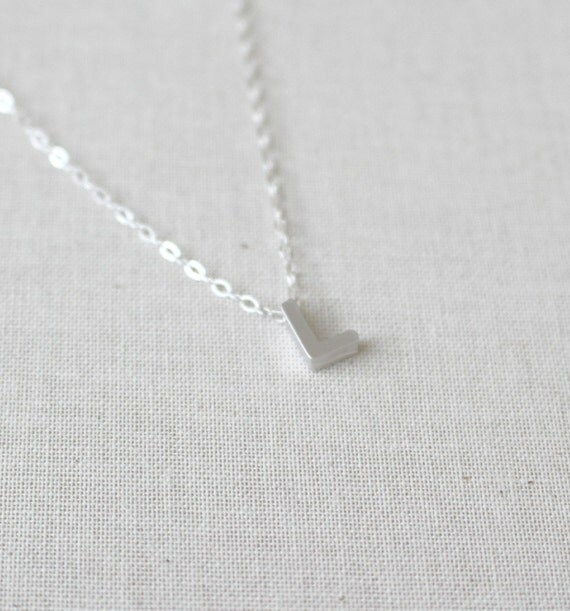small letter l necklace sterling silver necklace initial l charmpendant birthday