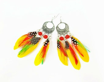 Yellow Feather Earrings,  Boho Feather Earrings, Parrot Feather Earrings, Feather Jewelry, Colorful Feather, Feather Chandelier Earrings