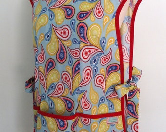Cobbler Apron in Red, Yellow, Navy and Blue Paisley, Over the Head Apron with Pockets, Smock, Full Coverage, Riley Blake Summer Celebration