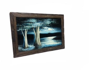 Vintage Black Velvet Painting - Vintage Blue Lagoon Painting, Night Sky, Landscape Black Velvet, Mid Century Modern, Retro Wood Carved Frame
