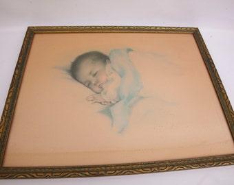 Antique Bessie Pease Gutmann A Little Bit of Heaven Lithograph Baby Print Original Painting Framed Hand Color Nursery Decor