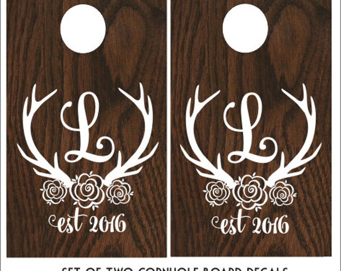 Floral Antler Cornhole Decals Wedding Cornhole Board Decals DIY Rustic Wedding Cornhole Rustic Barn Wedding Decor Antler Monogram Corn Toss