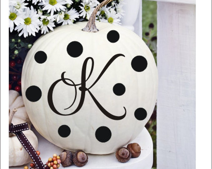 Pumpkin Monogram Decal Set Pumpkin Decor Initial Monogram with Polka Dots Vinyl Decal Halloween Fall Porch Decor Curb Appeal Pumpkin Dots