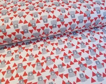 Japanese bear fabric in lightweight canvas by Kokka - 1/2 YD