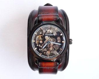 Leather Watch Cuff, Black & Brown