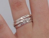 Stacking Rings - Name Ring - Sterling Silver - Hand Stamped - Hammered Rings - Hand Made - Stackable Rings - Organic - Rustic