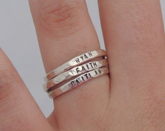 Stacking Rings Stackable Name Ring Sterling Silver Rings Hand Stamped Rings Hammered Rings -Organic Rings Personalized Rings