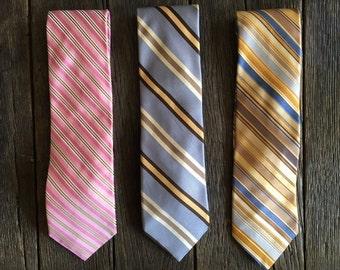 ON SALE - 3 Vintage Silk Ike Behar Neckties - Vintage Silk Ike Behar Ties - Striped Silk Ties - Pink Yellow Blue Silk Ties