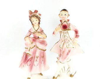 Victorian Figurine Set, Pink Victorian Courting Couple, Porcelain Lady Figurine, Wales Made in Japan, Cottage Chic Decor, French Country