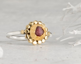 Ruby Crystal Stacking Ring, Raw Ruby Ring, Mineral Rings, Ruby Ring, Raw Gemstone Rings, Ruby Engagement Ring, 22k Gold Ring, Promise Ring