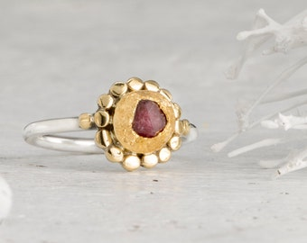 Raw Ruby Ring,, Gold Ring , Sterling Silver Ring,, Gemstone ring, July Birthstone Ring, Engagement Ring, 22k Gold Ring,, Stacking Ring,