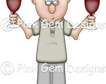 Digital Digi Stamp  Ernie with Wine . Male  Birthdays. Fathers Day