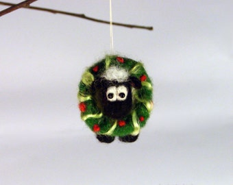 Needle Felted Sheep with wreath  Christmas  decoration