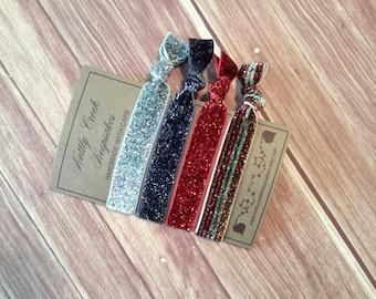 Glitter Elastic Hair Ties/Stripe Glitter Hair Ties/ Wine Hair Ties /No-Crease Hair Tie/Set of 4 Hair Ties/ FOE Hair Ties / Ponytail Holder