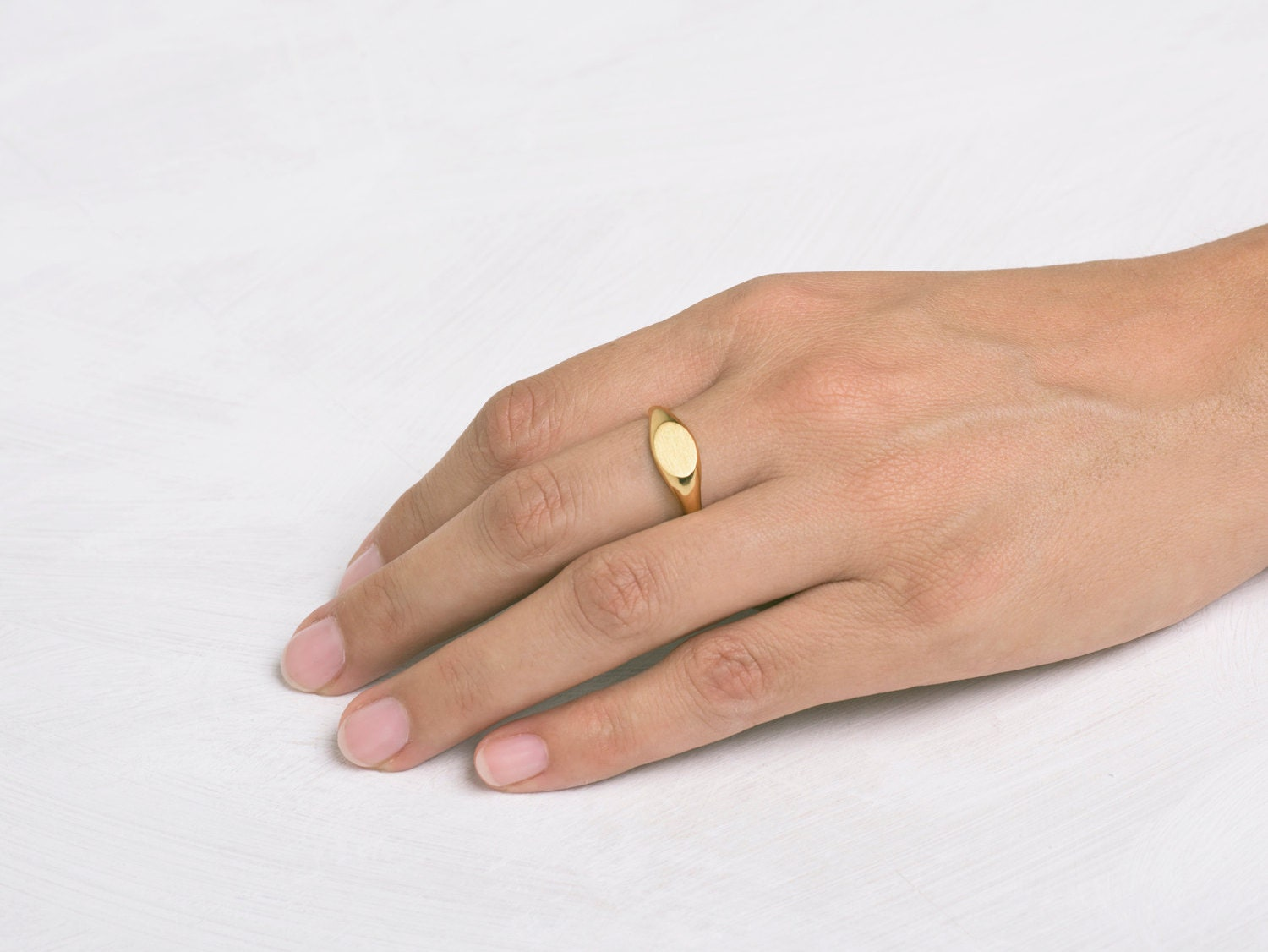 Oval Pinky Ring 18k Gold Seal Pinky Ring Yellow Gold 14k