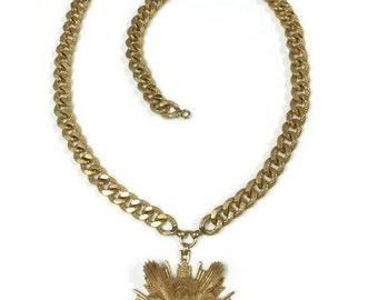 Vintage Nettie Rosenstein Owl Medal Pendant Necklace