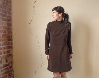 mod mini panel dress/ brown/ long sleeves/ vintage 60s// med