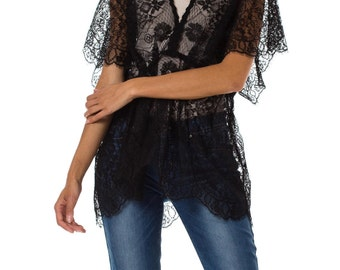 Morphew Lab Black Sheer Tunic Kimono Sleeve Top Made with Edwardian Chantilly Lace, Size: M/L
