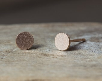 Rose Gold Earrings, Rose Gold Studs, Circle Earrings, Circle Studs, Rose Gold Circle Earrings, Minimal Earrings, Dainty Earrings, Pink Gold