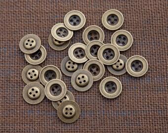 "18 Vintage 11/16"" Brass Tone Metal Buttons. 4 Holes. Darker Recessed Center, Raised Back. Solid Metal. Item 3691M"