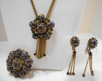Vintage Italian Art Glass Parure (1168) Clip Earrings, Brooch & Pendant Necklace