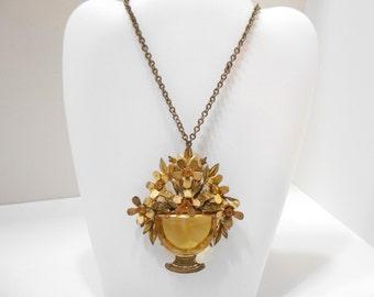 Vintage Citrine Crystal Pendant Necklace/Brooch (1239)