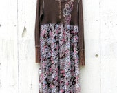Womens Floral Dress - hippie clothing - long sleeve maxi dress - gypsy tattered clothes - recycled repurposed dress size Medium large