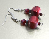 Bright Red Earrings - Red Dangle Earrings with Faceted Glass Crystals and Hematite Chips, Nickle-Free Plated Earwires, Handmade in the USA