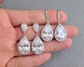 Crystal Bridal Earrings Wedding Earrings Wedding Jewelry Bridal Jewelry Set Teardrop Crystal Earrings Bridal Jewelry Crystal