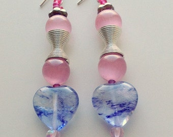 Blue Heart and Pink Tiger eye natural Gemstones Bead Earring, Pink Tiger Eye Earrings, Blue Glass heart Beads, Valentine Gift, Romantic Jewe