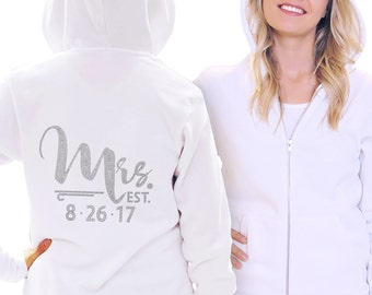 Wedding Hoodie - Foxy Mrs Custom Date Hoodie, Personalized Bride Hoodie, Anniversary Gifts for Her, Wedding Sweatshirt, Bridal Shower Gift