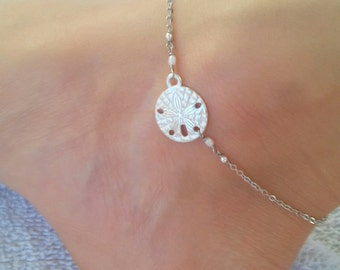 Silver sand dollar anklet with tiny freshwater pearls