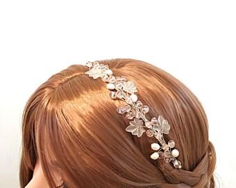 Pink wedding headband, bridal headband, crystal wedding headband, wedding hair accessories, bridal headbands, wedding headband silver