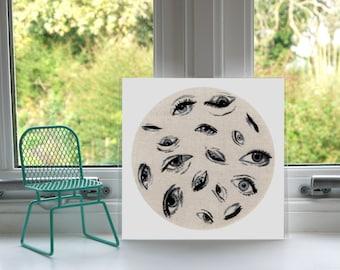 Eyes Print - Hand Embroidery - Print - Illustration - Wall Art - Artwork