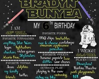 Star Wars Birthday Chalkboard **PRINTABLE** ANY SIZE!
