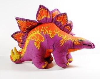 Soft Sculpture Stegosaurus - Phoenix Toy Co - 1991 - Dinosaur Pillow - Toy Dinosaur - Neon Fluorescent Dinosaur