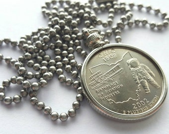 Ohio State Quarter Coin Necklace with Stainless Steel Ball Chain or Key-chain - 2002 - Birthplace of Aviation