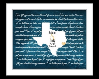 Texas map art texas silhouette, lyric map art, valentine's day gift, wedding gift, anniversary gift for him, texas map art, galveston texas