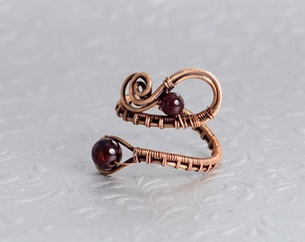 Garnet Ring Copper Ring Adjustable Ring Copper Jewelry Natural Garnet Wire Wrapped Jewelry Unique Jewelry Wire Ring WoA04