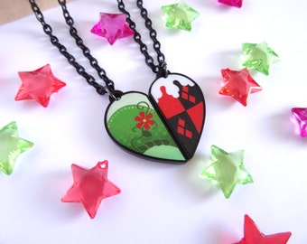 Poison Ivy and Harley Quinn BFF Necklace Set