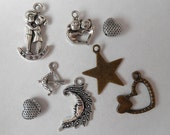 Hearts and Stars Charm Destash Silver Bronze Metal Charms (8 pieces)
