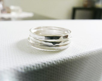 Sterling Silver Rings//Stacking Rings//Set of 3 Rings//Hammered Bands// Ring Stack//Stackable Rings//Handmade Jewelry//Women Rings