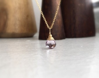 Amethyst necklace gold filled - Pink amethyst drop pendant necklace