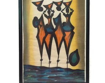 Vintage Wax Cloth African Print Wall Art Mid Century Modern Geometric Tribal Hand Painted Abstract Modern Art Artist Vivid Orange Blue