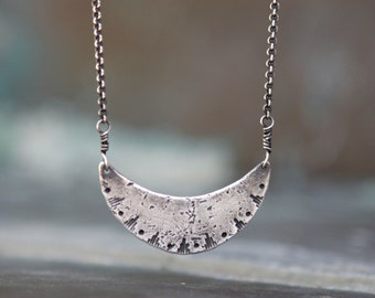 Silver Crescent Moon Necklace -Sterling Silver Moon Pendant - Celestial Jewelry - Oxidized Sterling Silver - New Moon Rising Pendant