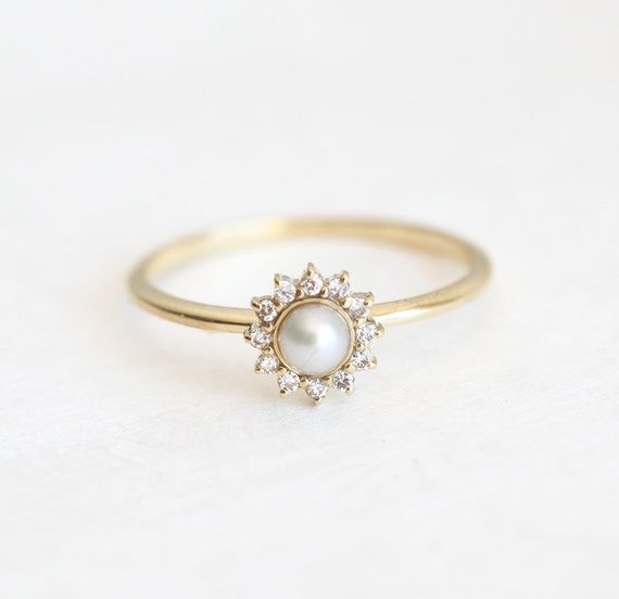 white pearl ring with diamonds pearl engagement ring