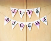 Love Blooms Spring Wedding Shower Watercolor Bunting Banner