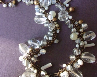 Clear Glass Bead Necklace, Brass Tone Chain, Fashion Boho Style, Vintage